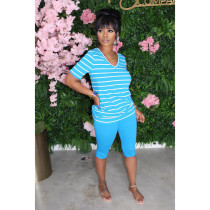 Striped T-shirt Solid Color Pants Suit LA-3186