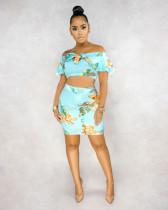 Floral Print Slash Neck Crop Top Mini Skirt 2 Piece Sets BS-1182