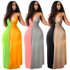 Contrast Color Sexy Deep V Spaghetti Strap Maxi Dress NIK-029-1