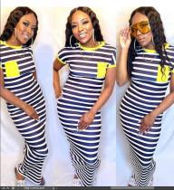 Plus Size Striped Short Sleeve Maxi Dress BLI-2026