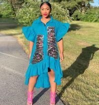 Asymmetric Sequined Ruffled Dress MEM-8277