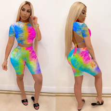Sexy Tie Dye Backless Two Piece Shorts Set NIK-127