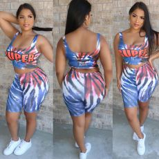 Plus Size Tie Dye Letter Tank Top Shorts 2 Piece Sets CQ-006