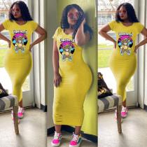 Plus Size Cartoon Print Short Sleeve Maxi Dress BLI-2021