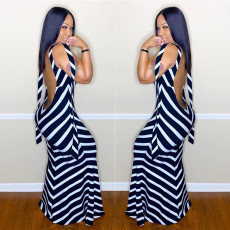 Sexy Black White Stripe Backless Maxi Dress LSL-6348