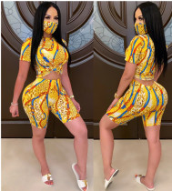 Plus Size Printed Two Piece Shorts Set With Mask GS-1820