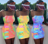 Tie Dye Letter Print Spaghetti Strap Mini Dress LM-8150