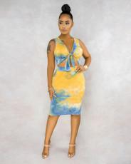 Tie Dye Print Sleeveless Two Piece Skirt Set BS-1191