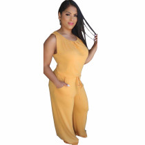 Plus Size Solid Sleeveless Two Piece Pants Set YNB-7085