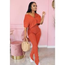 Plus Size Fashion Solid Color Top Folds Pants Two Piece Set MTY-6322