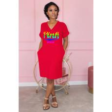 V Neck Pink Letter Printed Casual Dress OM-1136