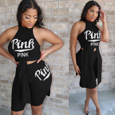 Pink Letter Print Irregular Two Piece Shorts Set YN-092