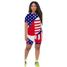 Plus Size Flag Pattern Two Piece Shorts Set LDS-3222