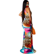 Tie Dye Print Sleeveless Slim Mermaid Maxi Dress SFY-126