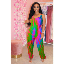 Plus Size Tie Sye Backless Strap One Piece Jumpsuits CQ-009