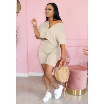 Solid Short Sleeve Casual Two Piece Shorts Set QY-5182