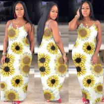 Flower Print Sleeveless Loose Slip Maxi Dress WAF-5012