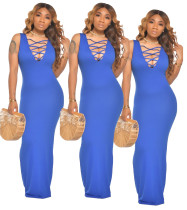 Sexy Solid Color Sleeveless Maxi Dress Two Ways To Wear It MX-1095