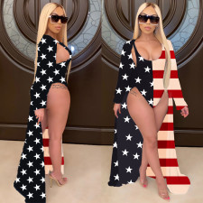 America Flag Print One Piece Swimsuit +Long Cloak CHY-1234