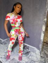 New Fashion Casual Printed T-shirt Folds Pants Suit MEM-8281
