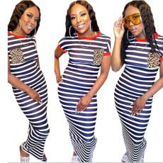 Casual Slim Striped Maxi Dress MUM-5039