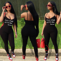 Personality Sexy Letter Print Suspenders Tight Jumpsuits BGN-082