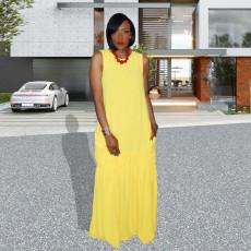 Solid Sleeveless Pleated Maxi Dress KSN-5138