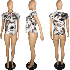 Plus Size Chiffon Printed Short Sleeve Tops PIN-8498