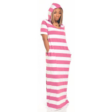 Casual Striped Hooded Maxi Dress IV-8091