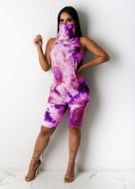 Tie Dye One Piece Mask Tops And Shorts Set OSM-6095