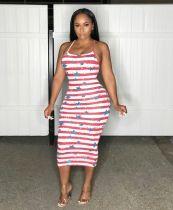 Sexy Star Stripe Print Spaghetti Strap Slim Midi Dress CH-8111