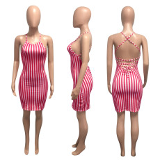 Sexy Striped Backless Criss Cross Strap Mini Dress NIK-137