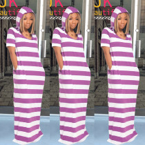 Casual Striped Hooded Short Sleeve Maxi Dress TE-4039