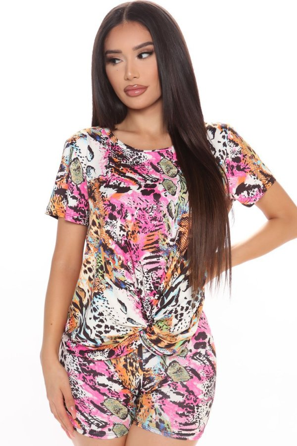 Casual Printed Short Sleeve 2 Piece Shorts Set LSL-6358