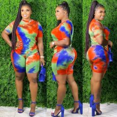 Tie-dye Plus Size 5XL Fashion Shorts Suit OSM2-4201