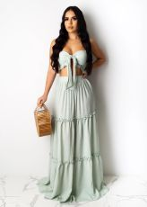 Sexy Elegant Tube Top Long Dress Suit SFY-133