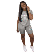 Letter Print T Shirt Shorts Two Piece Sets WAF-7003