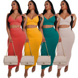 Solid Spaghetti Strap Long Skirt Two Piece Sets AIL-102