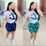 Casual Printed Short Sleeve Two Piece Shorts Set LUO-3074