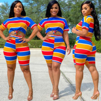 Colorful Stripe Casual Two Piece Shorts Set TK-6095