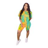 Plue Size Tie Dye Print Casual Two Piece Shorts Set RSN-758