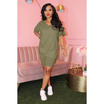 Solid V Neck T Shirt Shorts Two Piece Sets XMY-9239