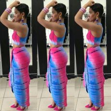 Tie Dye Print Sleeveless Long Skirt Two Piece Sets MDF-5141