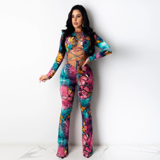 Plus Size Butterfly Print Hollow Lace Up Jumpsuits YIY-5176