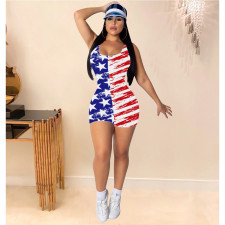 Plus Size Sexy America Flag Print Sleeveless Rompers YIY-5173