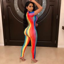 Plus Size Colorful Stripe Short Sleeve Jumpsuits YIY-5180