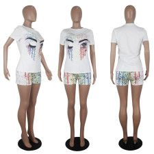 Eye Print T Shirt And Shorts Two Piece Sets SHD-9279
