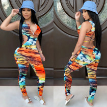 Sexy Printed Sleeveless Backless Jumpsuits NIK-141
