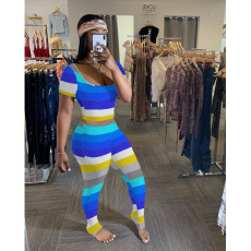 Plus Size Colorful Stripe Ruched Two Piece Pants Set SHE-7189