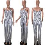 Plus Size 4XL Sexy Stripe Suspenders Jumpsuits LM-8162